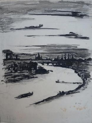 1932, Dresden Elbtalaue mit Stadtsilhouette, Kohlezeichnung