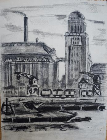 1932, Dresden Hafen mit Fabrik, Kohlezeichnung