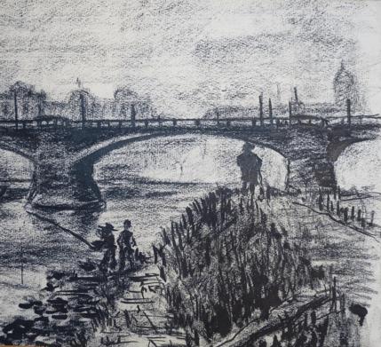1932, Dresden, Kohlezeichnung