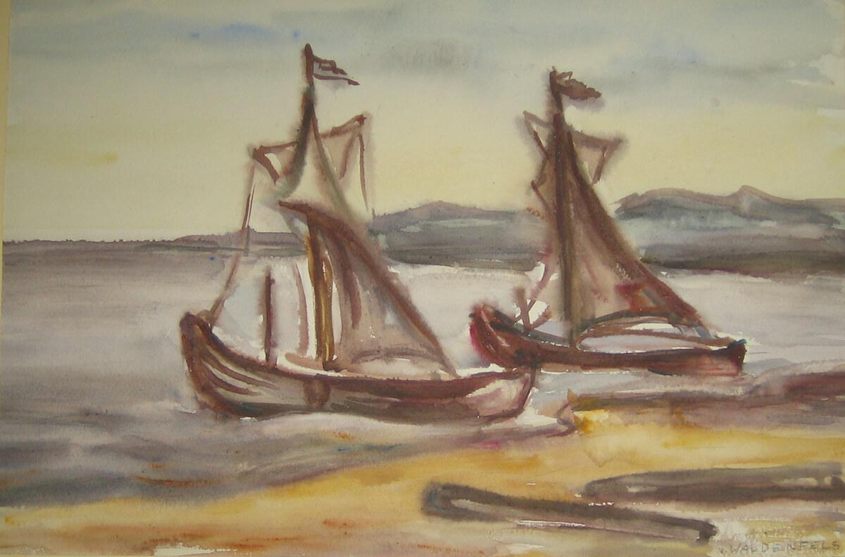 1953, Ostpreussen, Fischerboote am Haff, Aquarell