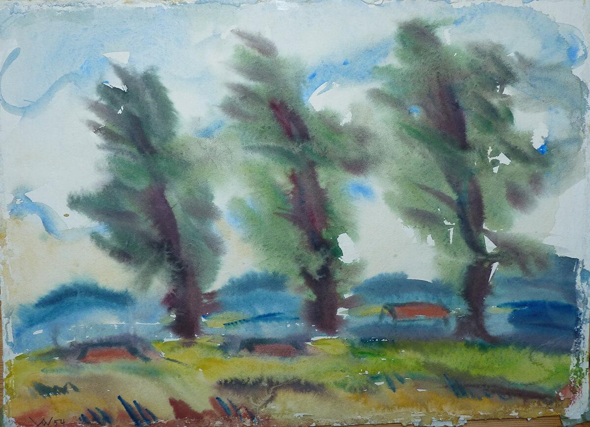 1954, Bäume im Wind, war in Ausstellung Freie Gruppe 1955