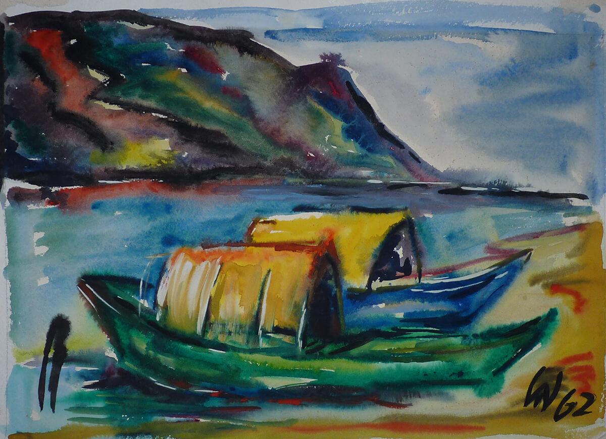 1962, Baveno, Zwei Boote, Tempera