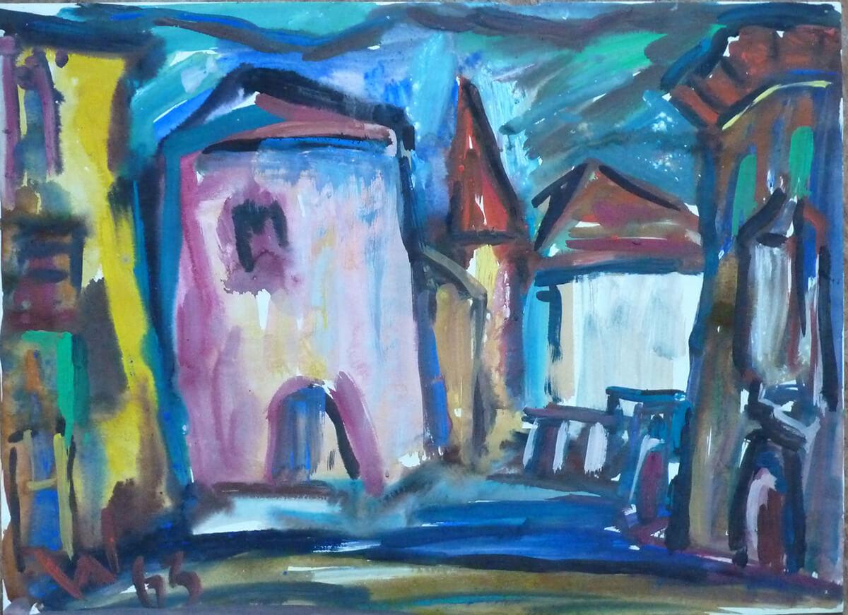 1963, Ort mit rosa Stadttor, Mischtechnik