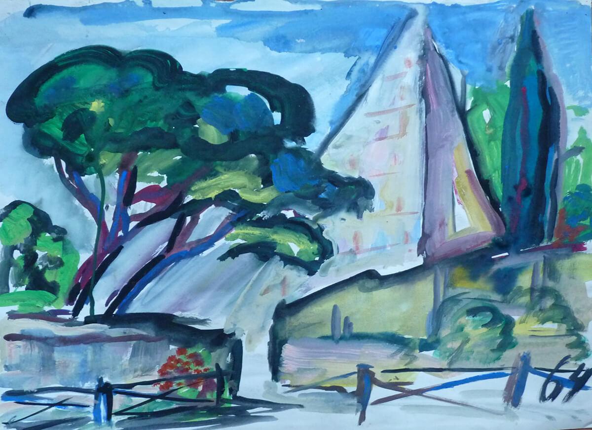 1964, Pyramide mit Pinie und Zypresse, Mischtechnik