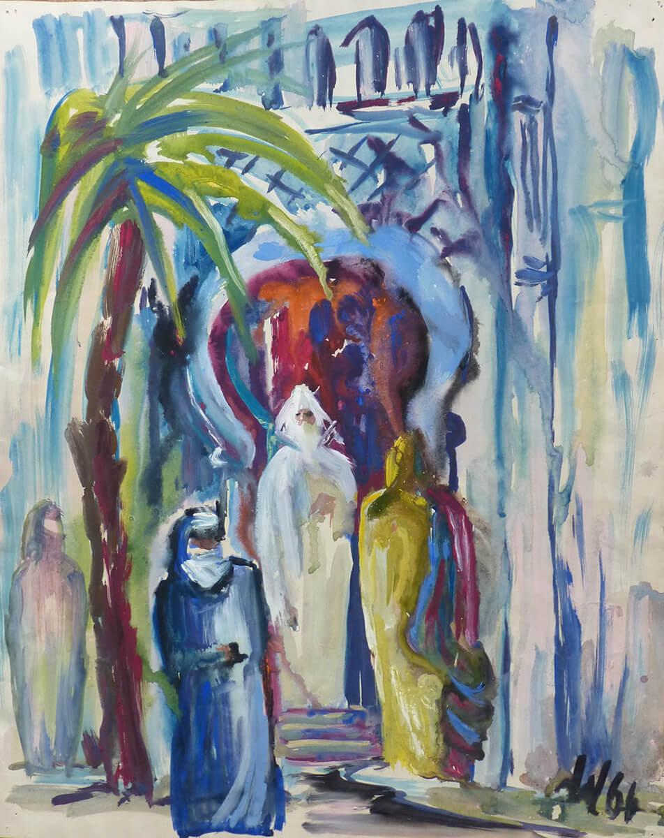 1966, Eingang zur Moschee, Mischtechnik-Tempera und Aquarell