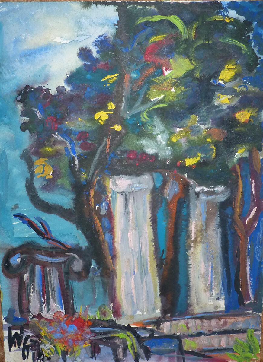 1967, Olympia, Säulen vor Laubbäumen