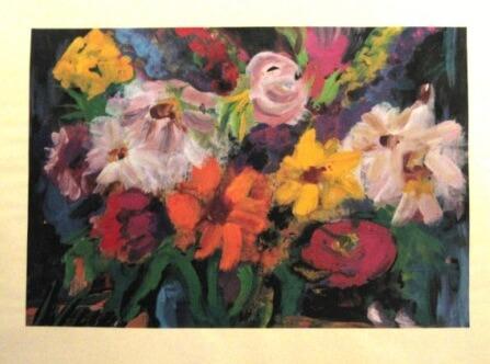 1979, Blumenstrauß in Vase, Mischtechnik