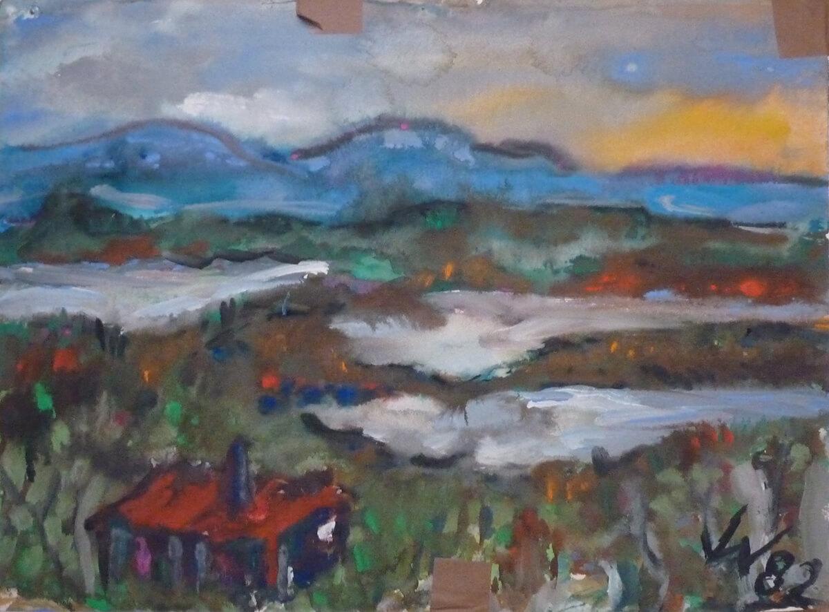 1982, Nordland-Landschaft, Mischtechnik