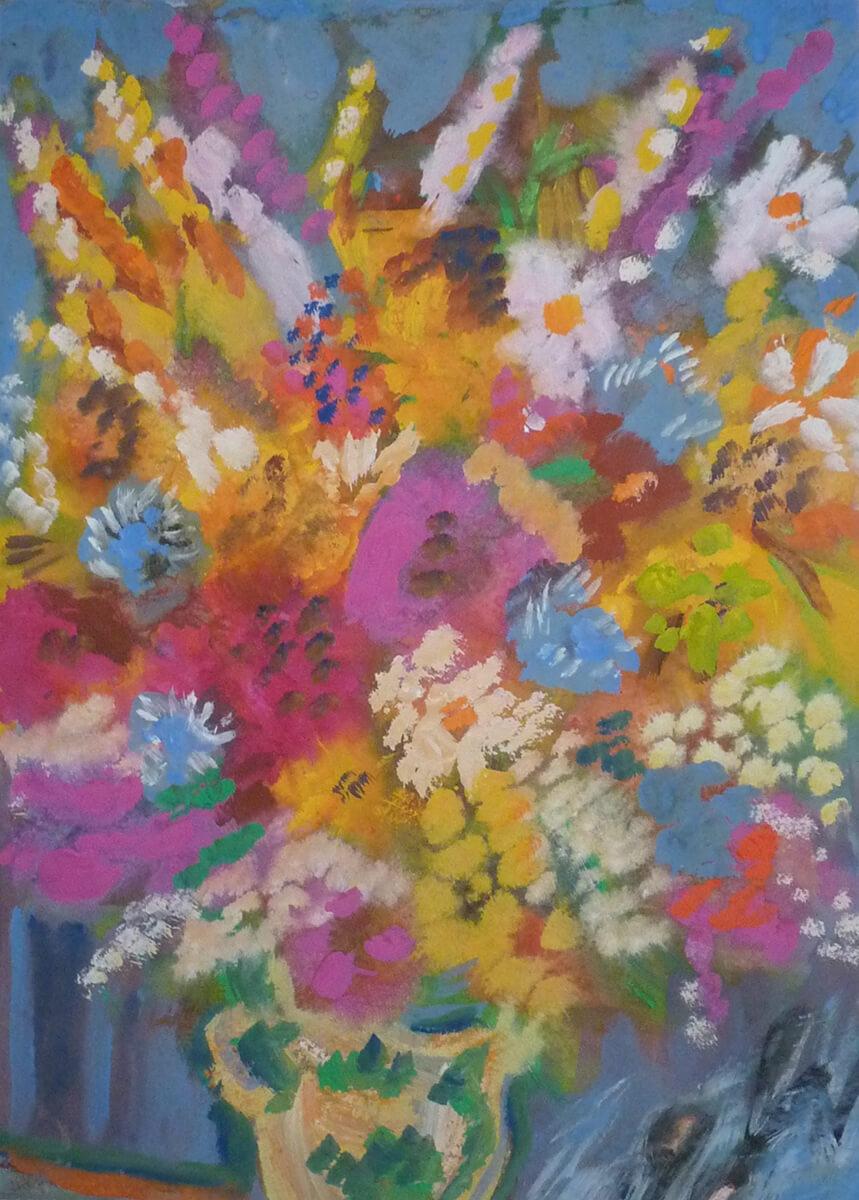 1990, Blumenstrauß, Mischtechnik