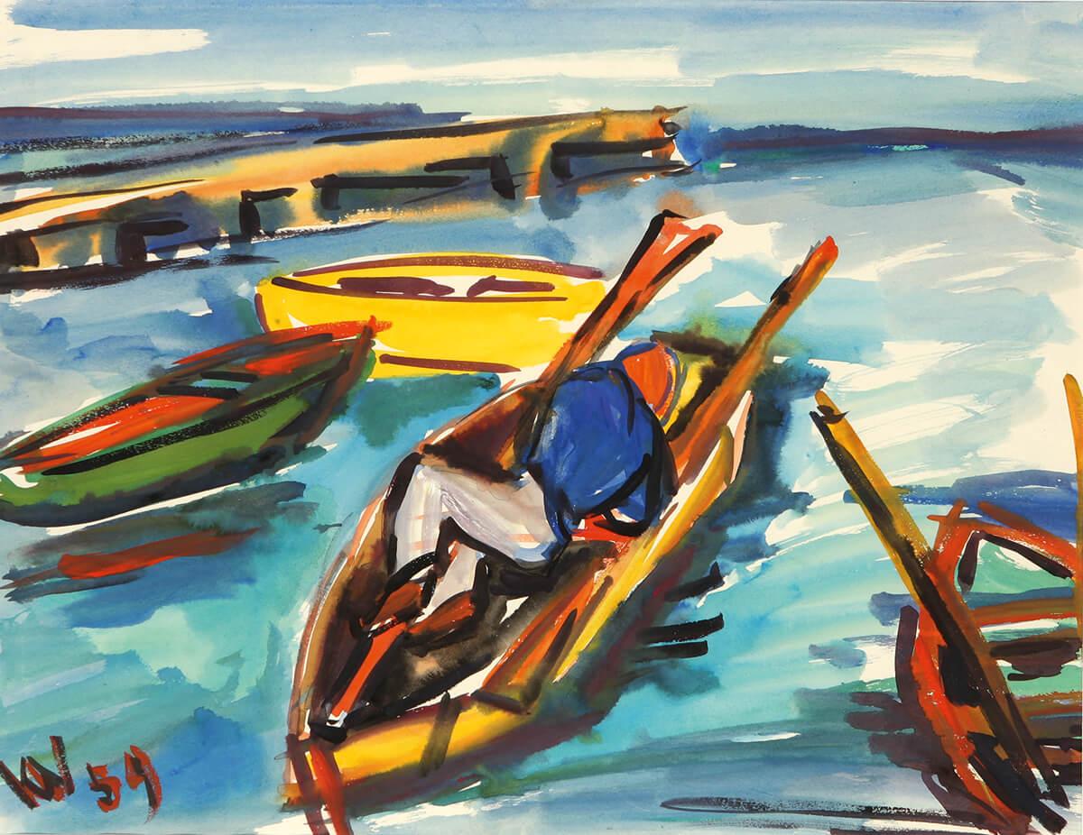 Gerda Voith von Voithenberg - Schlafender im Boot, 1959