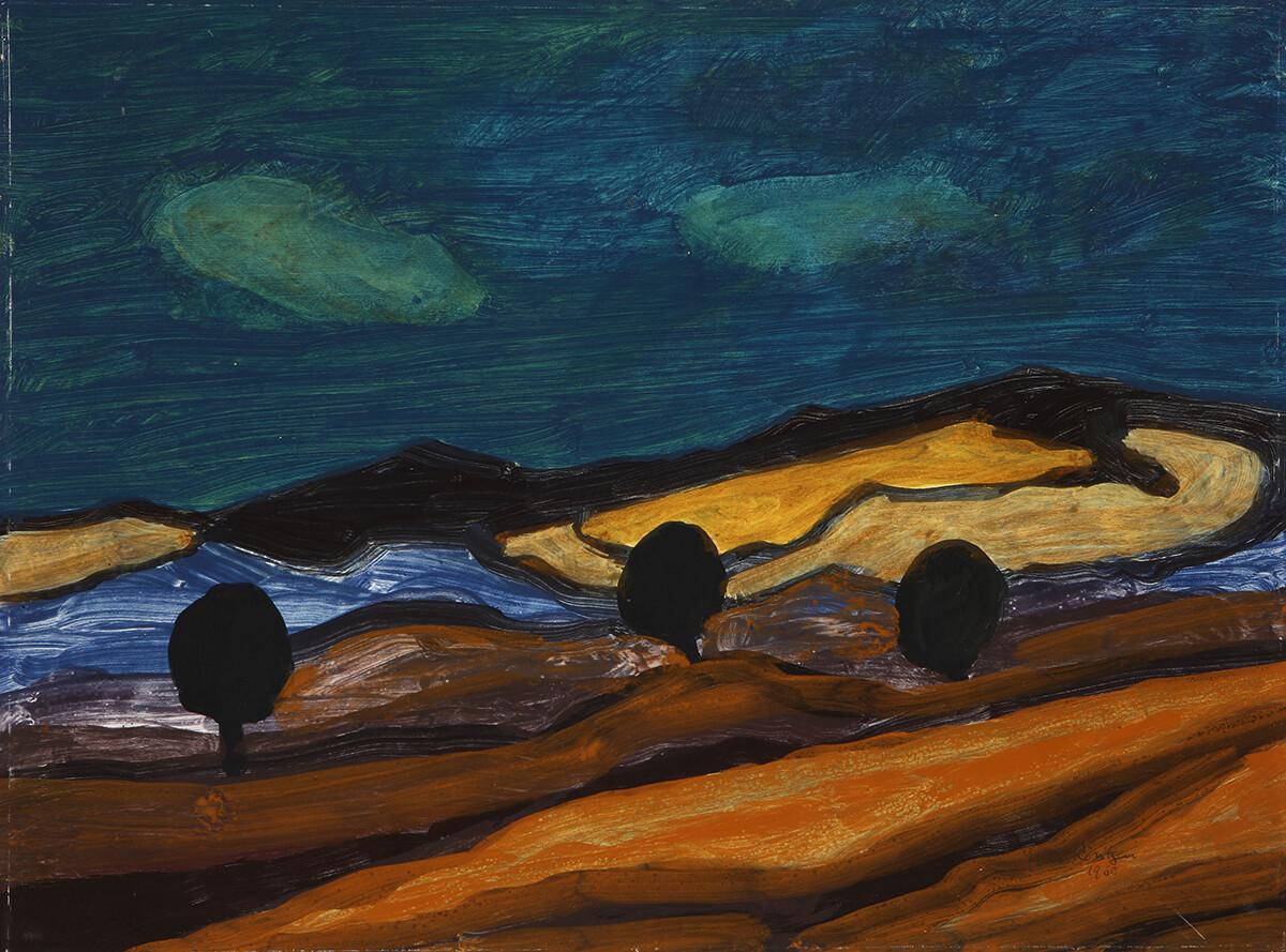 Ferdinand Röntgen - Felder vor dunklem Himmel, 1960