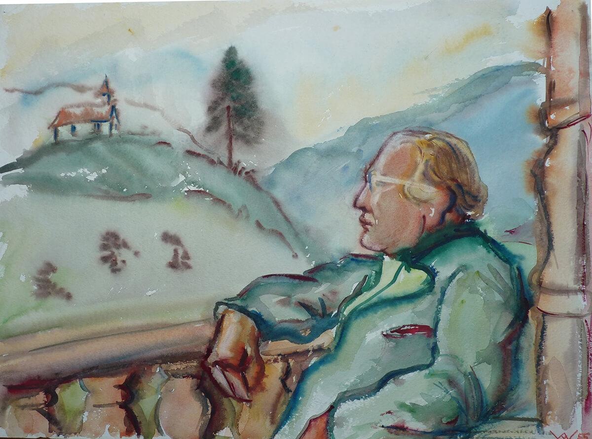 Gerda v.W. 1955 Aquarellportrait Hans V. v. V. in Oberbayern