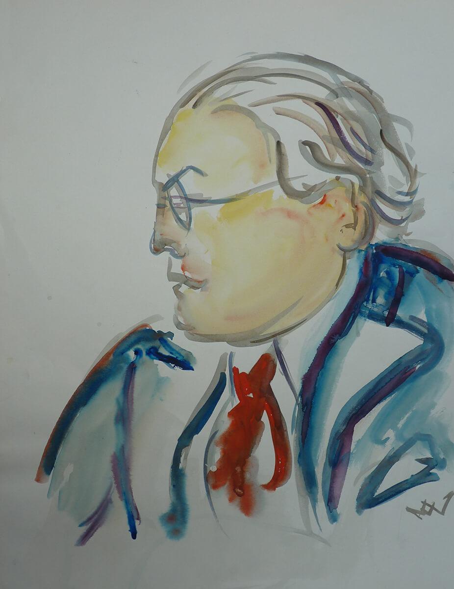 Gerda v.V. Aquarellportrait von Hans Voith von Voithenberg