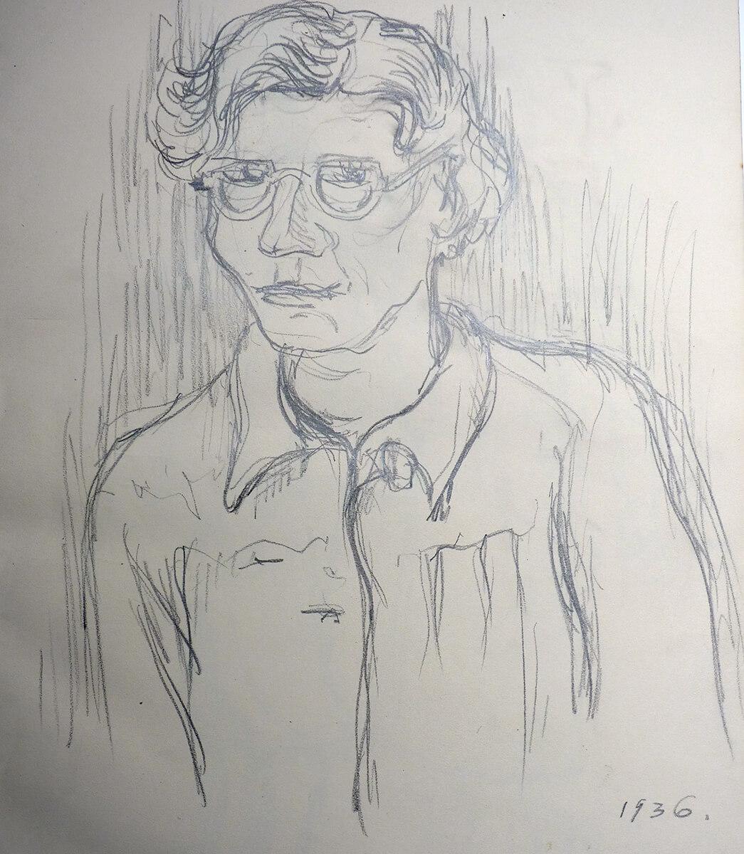 Gerda v. W. 1936 Bleistift-Zeichnung, Selbstbildnis